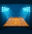 an of hardwood perspective vollyball field court vector image vector image