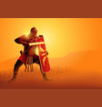 ancient rome legionnaire in a position ready vector image vector image