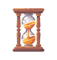 antique wooden hourglass flat icon vector image vector image