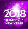 beautiful pink fireworks with happy new year 2018 vector image vector image
