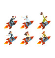 business men and women flying on rockets vector image vector image