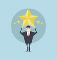 businessman holding five gold stars for rating vector image
