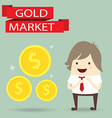 businessman is happy strategy gold marketing vector image vector image
