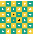 Card Suits Yellow Green Chess Board Background vector image vector image