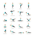 cartoon woman yoga poses icons set vector image