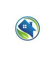 circle home nature eco leaf logo house real estate vector image