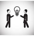 coworker idea bulb on white background vector image