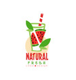creative logo for natural drink from fresh vector image