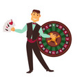 croupier in work suit with play cards and roulette vector image vector image