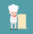 cute pastry chef holding a big blank paper vector image