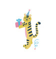 cute tiger wearing party hat with gift box cute vector image