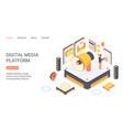 digital media platform landing page isometric vector image vector image