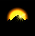 eclipse sunset in space mountains vector image