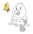 educational game for kids and coloring book-bird vector image