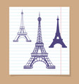 eiffel towers set on linear page vector image vector image