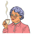 elderly woman drinking tea vector image