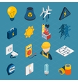 Electricity Isometric Icons vector image