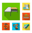equipment and machine flat icons in set collection vector image