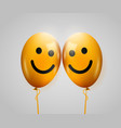friendship day two smiling yellow baloons vector image vector image
