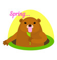 groundhog at spring icon flat style vector image vector image