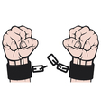 hand broken chains vector image