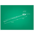 hand drawn dimension of toothbrush on green bluepr vector image