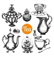 Hand Drawn Retro Tea Set vector image vector image