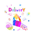 hand holding box delivery concept fast courier vector image