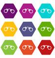 handcuffs icon set color hexahedron vector image vector image