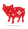 happy chinese new year 2019 pig red vector image
