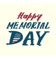 Happy memorial day Us flag symbol lettering text vector image