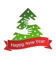 happy new year ribbon and tree with hands greeting vector image vector image