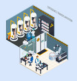 human cryogeny isometric composition vector image vector image