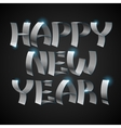 Isolated shiny metallic ribbons Happy New Year vector image