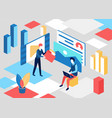 isometric people upload creative content concept vector image