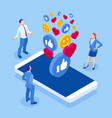 isometric social media and social network concept vector image