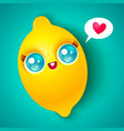 kawaii lemon on bright background vector image vector image