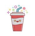 kawaii soft drink cola icon cartoon vector image
