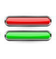 long rectangle buttons with bold chrome frame 3d vector image vector image