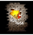 musical breakthrough in brick wall vector image vector image