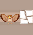 owl on note template vector image vector image