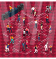People Dancing Movements Isometric Flowchart vector image