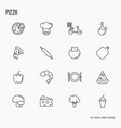 pizza cooking related thin line icons vector image