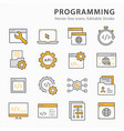 programming flat line icon set vector image vector image