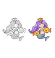 queen mermaid with beautiful hair stroking two vector image vector image