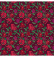Red and green tulip and rose floral textile vector image vector image