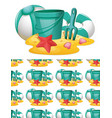 seamless background design with beach toys vector image vector image