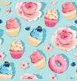 seamless pastel high detail cupcake pattern