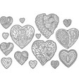set with isolated decorative monochrome hearts vector image