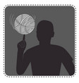 silhouette avatar boy with a basketball vector image vector image